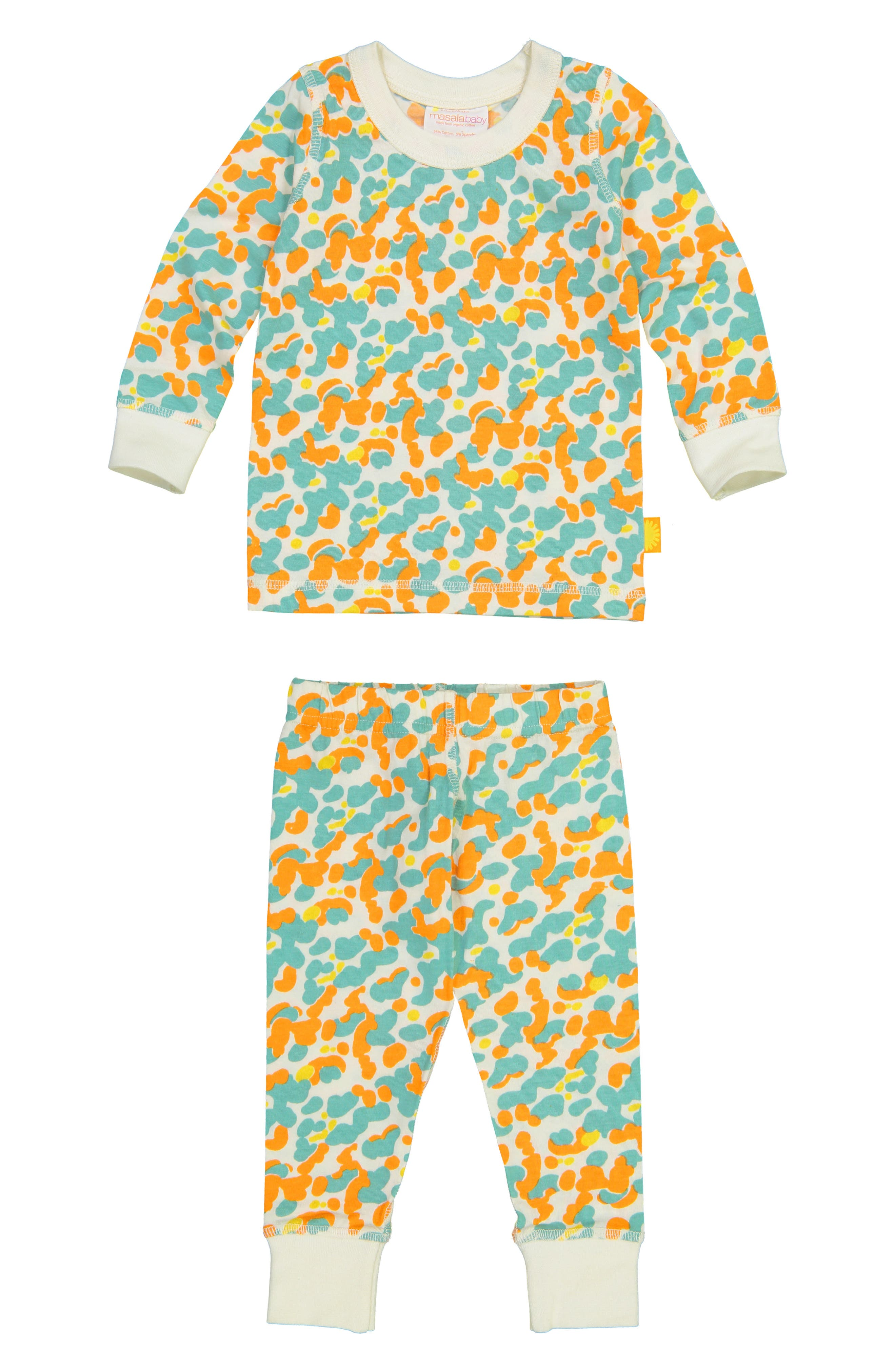 Organic Cotton Fitted Two-Piece Pajamas, Main, color, BLUE