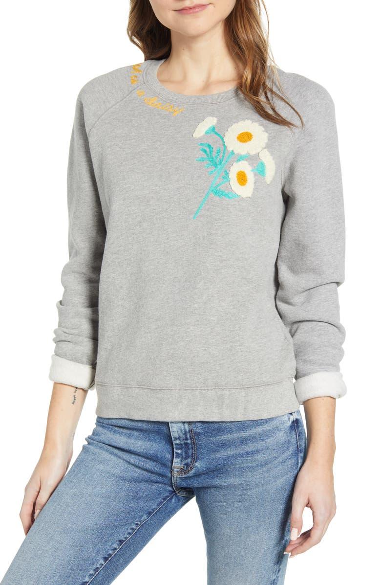 LUCKY BRAND Daisy Fresh Appliqué Sweatshirt, Main, color, GREY MULTI