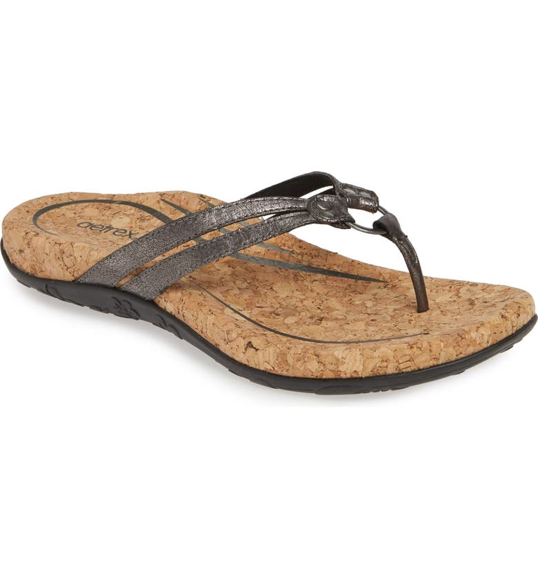 AETREX Taylor Flip Flop, Main, color, PEWTER LEATHER