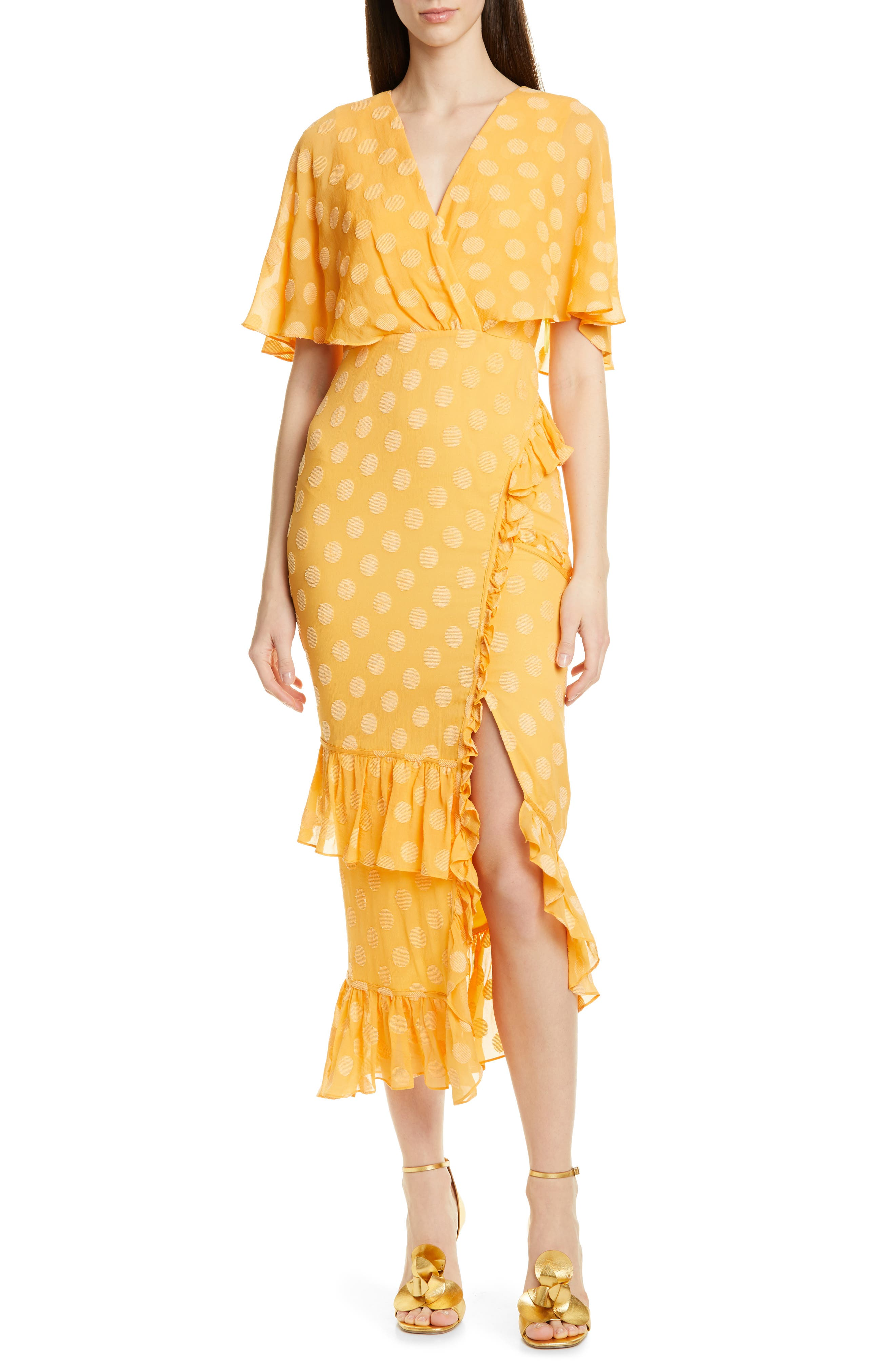 Saloni Ruffle Hem Silk Blend Dress