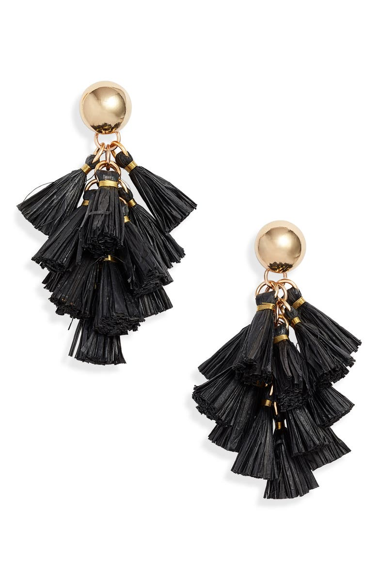 AKOLA Harper Raffia Tassel Cluster Drop Earrings, Main, color, BLACK