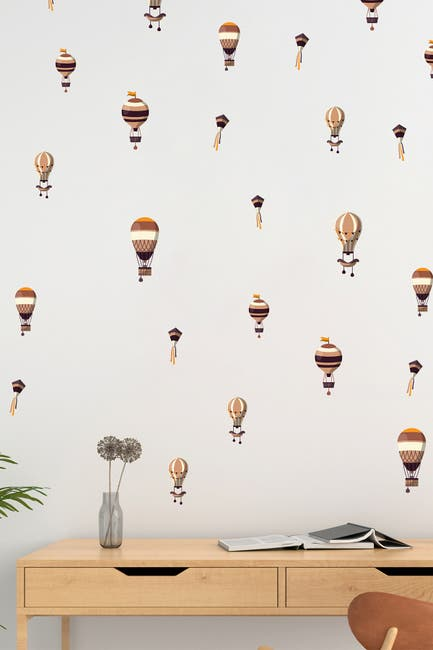 Image of WalPlus 2D Animation Hot Air Balloons Wall Decor - Dusty Pink