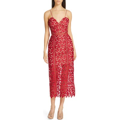 Self-Portrait Arabella Lace Midi Dress, Red