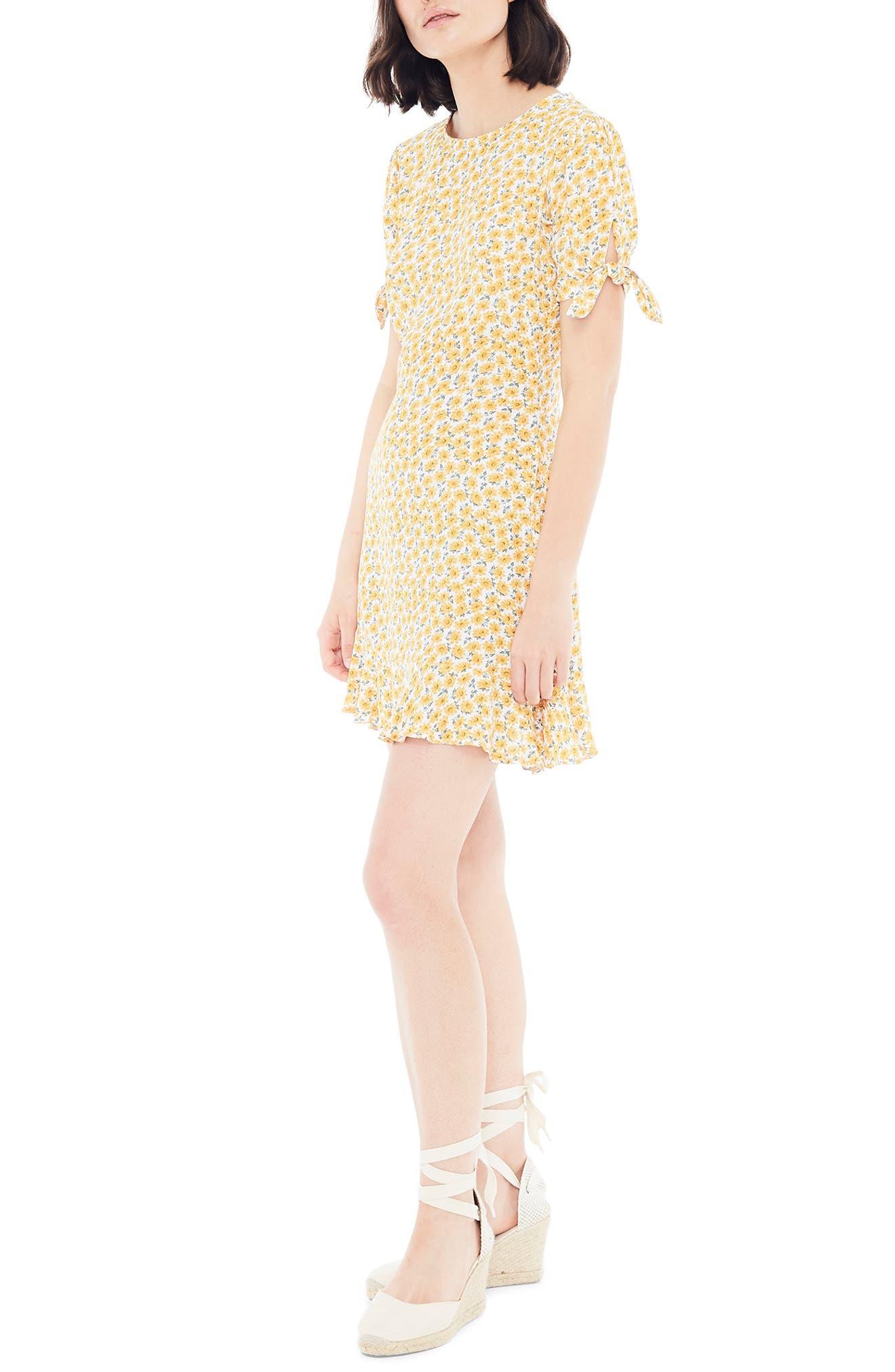 ,                             Daphne Tie Sleeve Minidress,                             Alternate thumbnail 4, color,                             MARGUERITE FLORAL - YELLOW