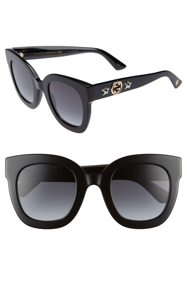 GUCCI 49mm Cat Eye Sunglasses, Main, color, 001