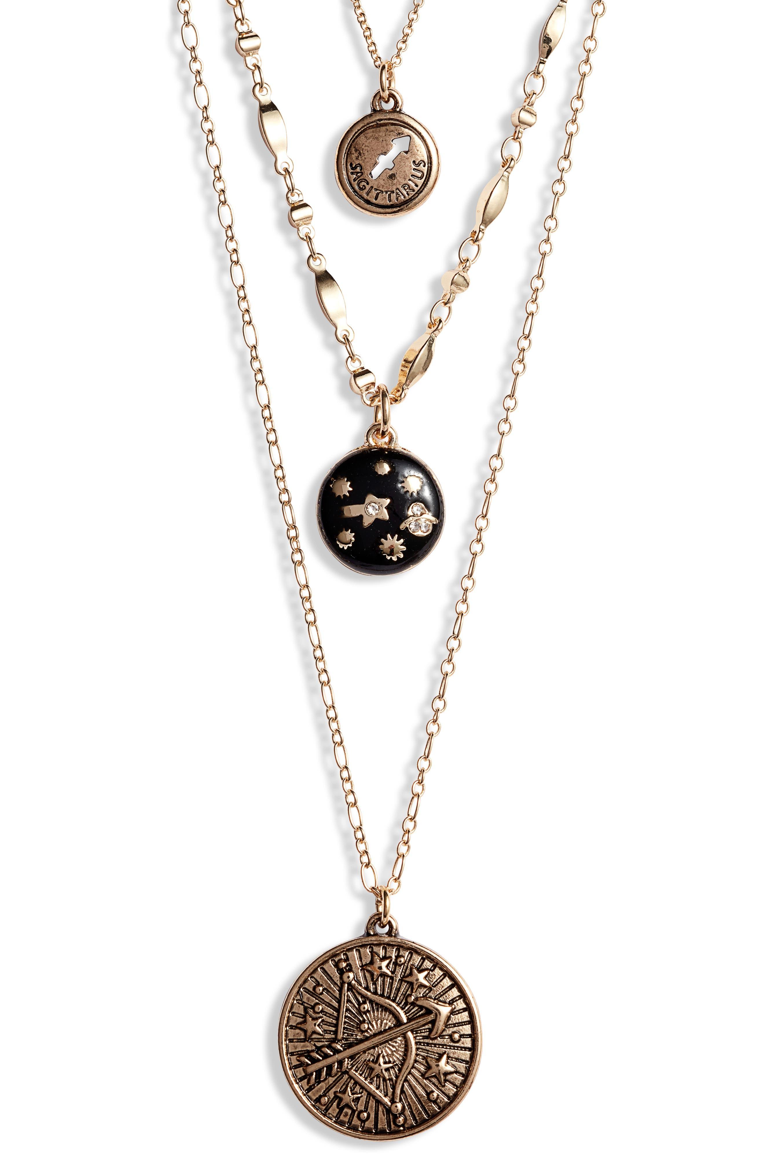 Sagittarius Astrological Charm Layered Necklace