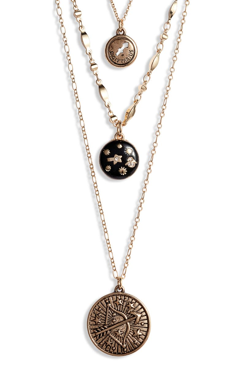 KNOTTY Sagittarius Astrological Charm Layered Necklace, Main, color, GOLD