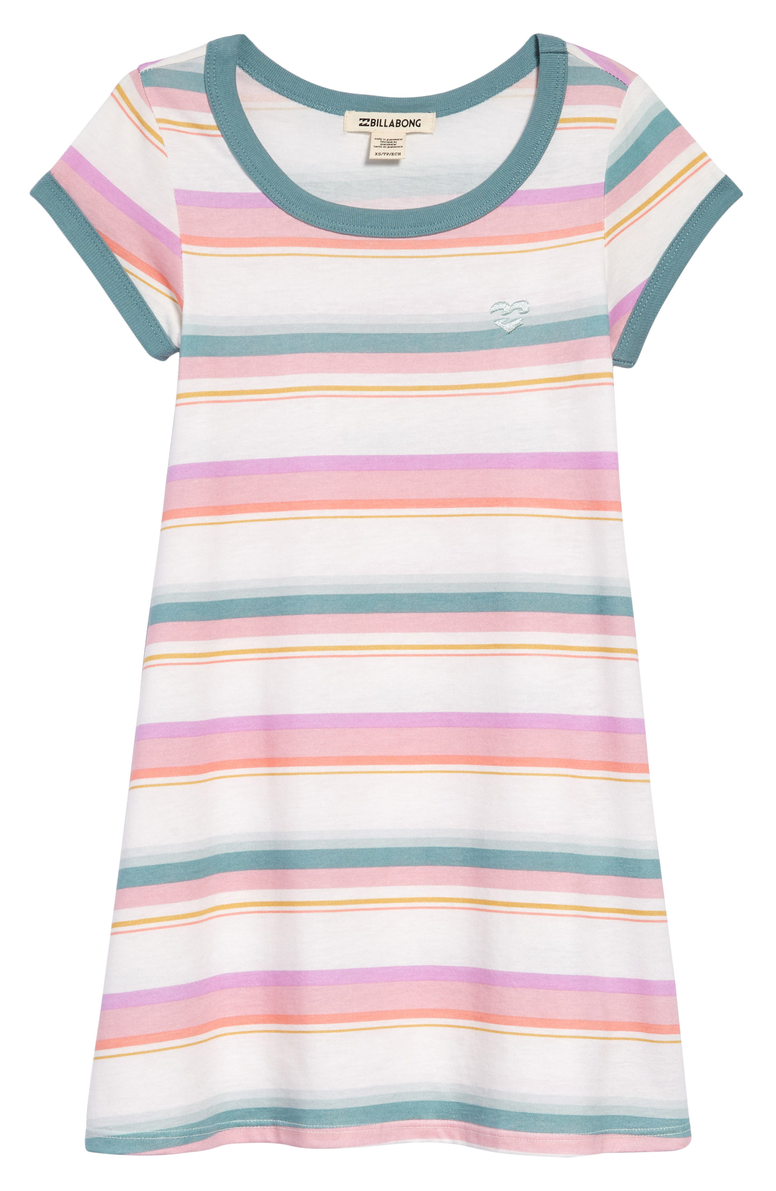 Girls Billabong Play Parade Stripe TShirt Dress Size L (1214)  Green
