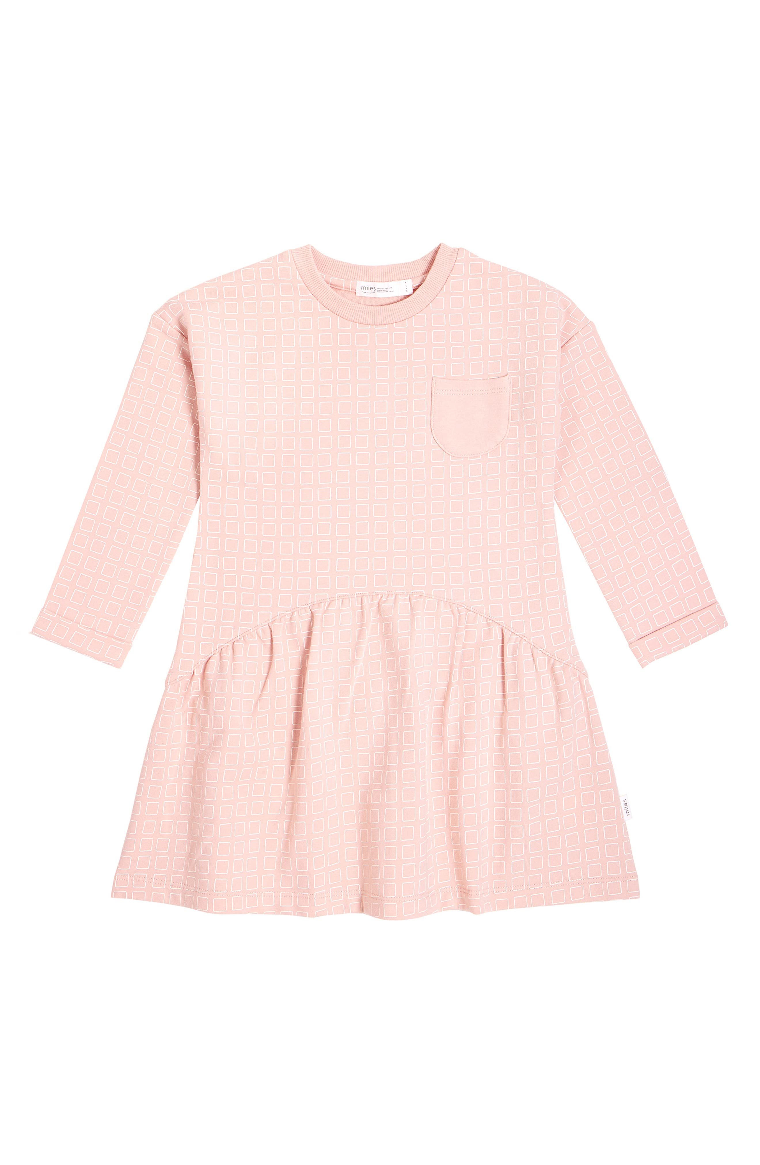 Geometric squares pattern a long-sleeve dress made from soft French terry to keep your little one cute and cozy. Style Name: Miles Kids\\\' Long Sleeve Dress (Toddler, Little Girl & Big Girl). Style Number: 6121562. Available in stores.