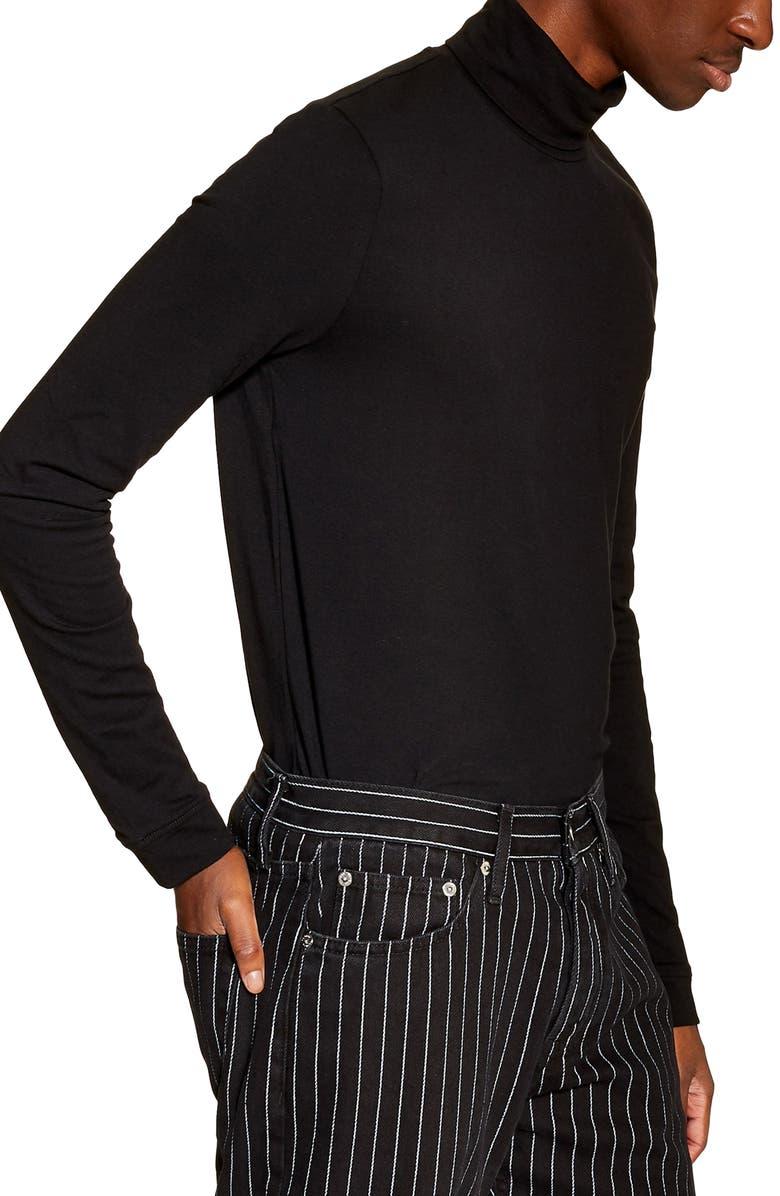 TOPMAN Jersey Turtleneck Long Sleeve T-Shirt, Main, color, BLACK