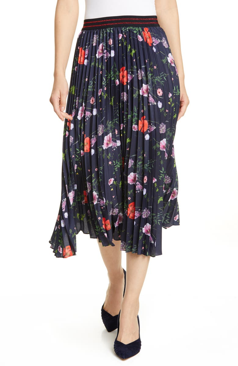 TED BAKER LONDON Hedgerow Pleated Floral Skirt, Main, color, DK-BLUE