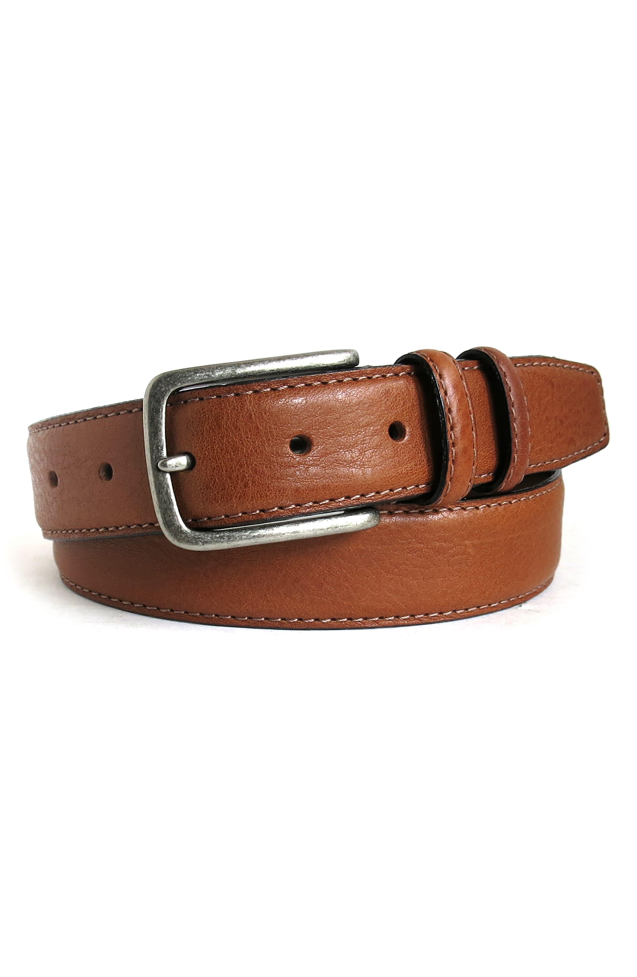 Boconi Clapton Leather Belt, Cognac