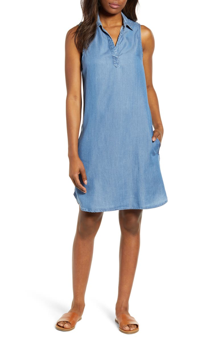 BEACHLUNCHLOUNGE Chambray Shift Dress, Main, color, MEDIUM BLUE