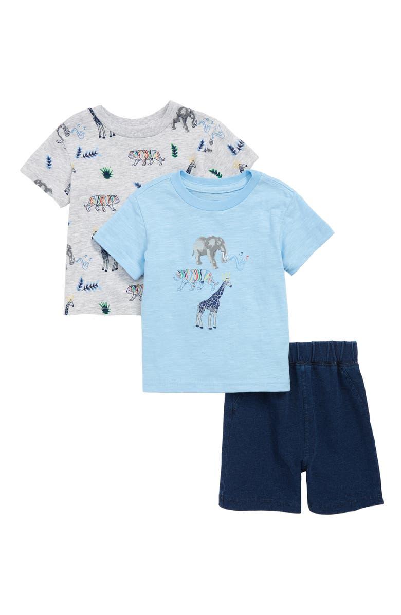 LITTLE ME Safari T-Shirts & Shorts Set, Main, color, 457