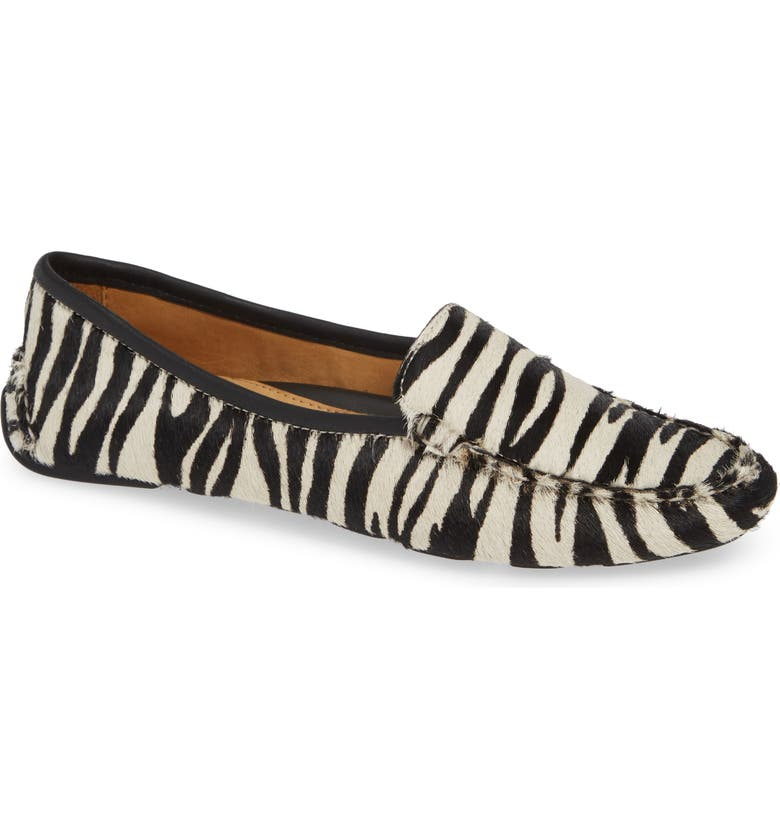 PATRICIA GREEN 'Jillian' Loafer, Main, color, BLACK/ WHITE HAIRCALF