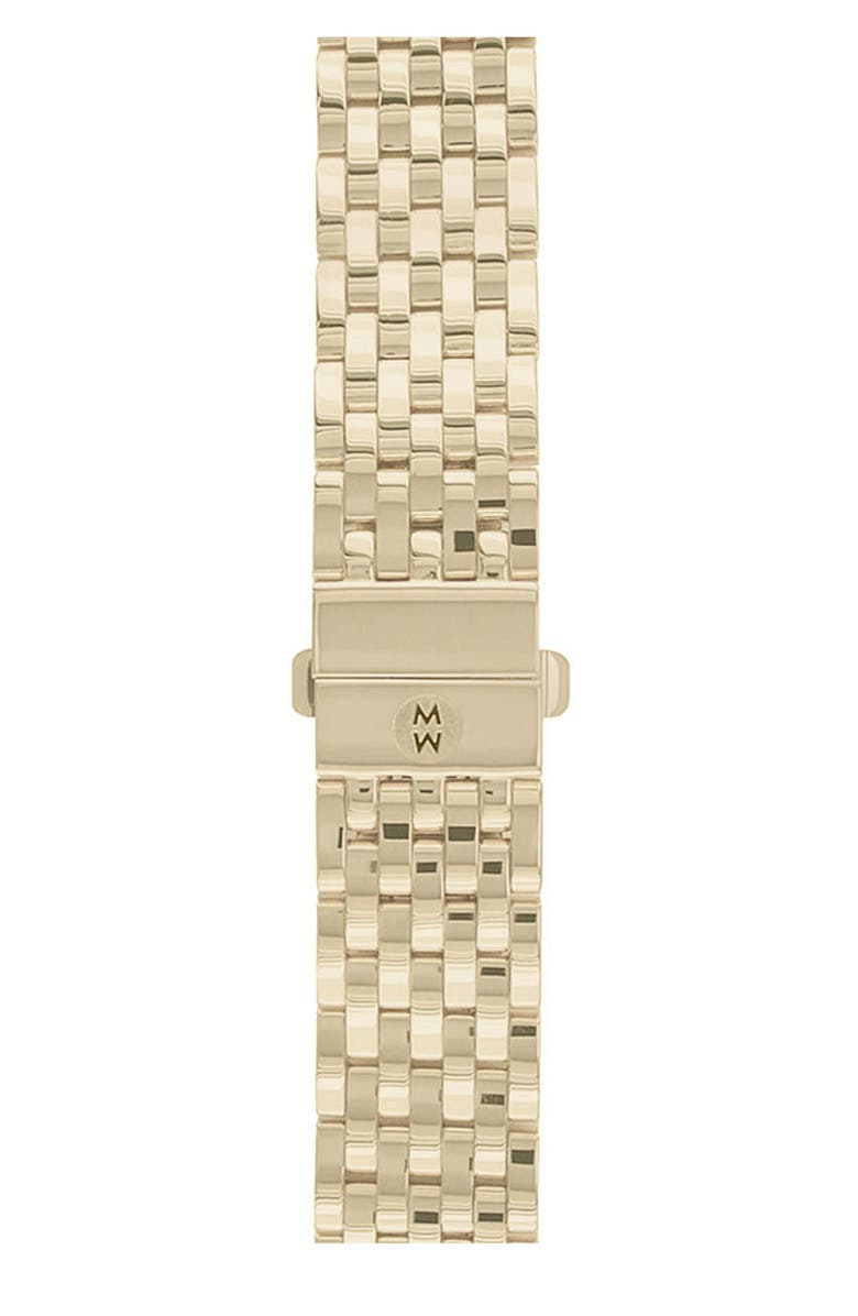 MICHELE Deco 18mm Gold Plated Bracelet Watchband, Main, color, GOL