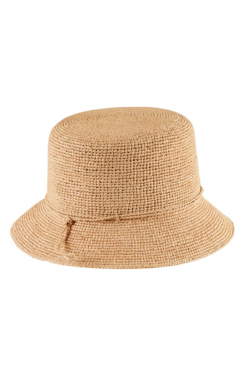 HELEN KAMINSKI Packable Raffia Bucket Hat, Main, color, NOUGAT