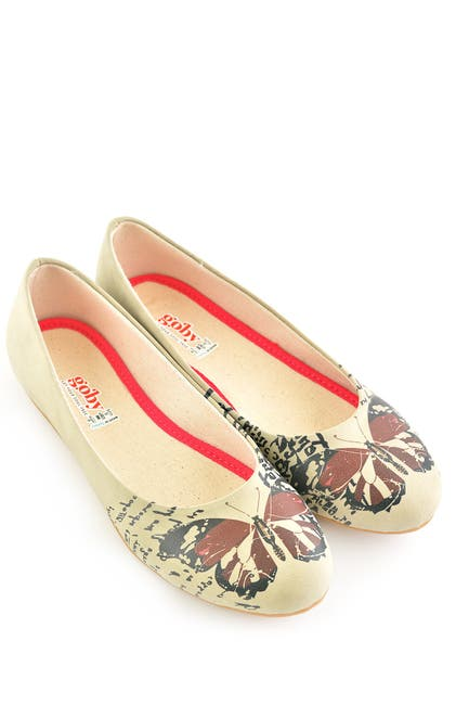 Image of Goby Printed Faux Leather Ballet Flat
