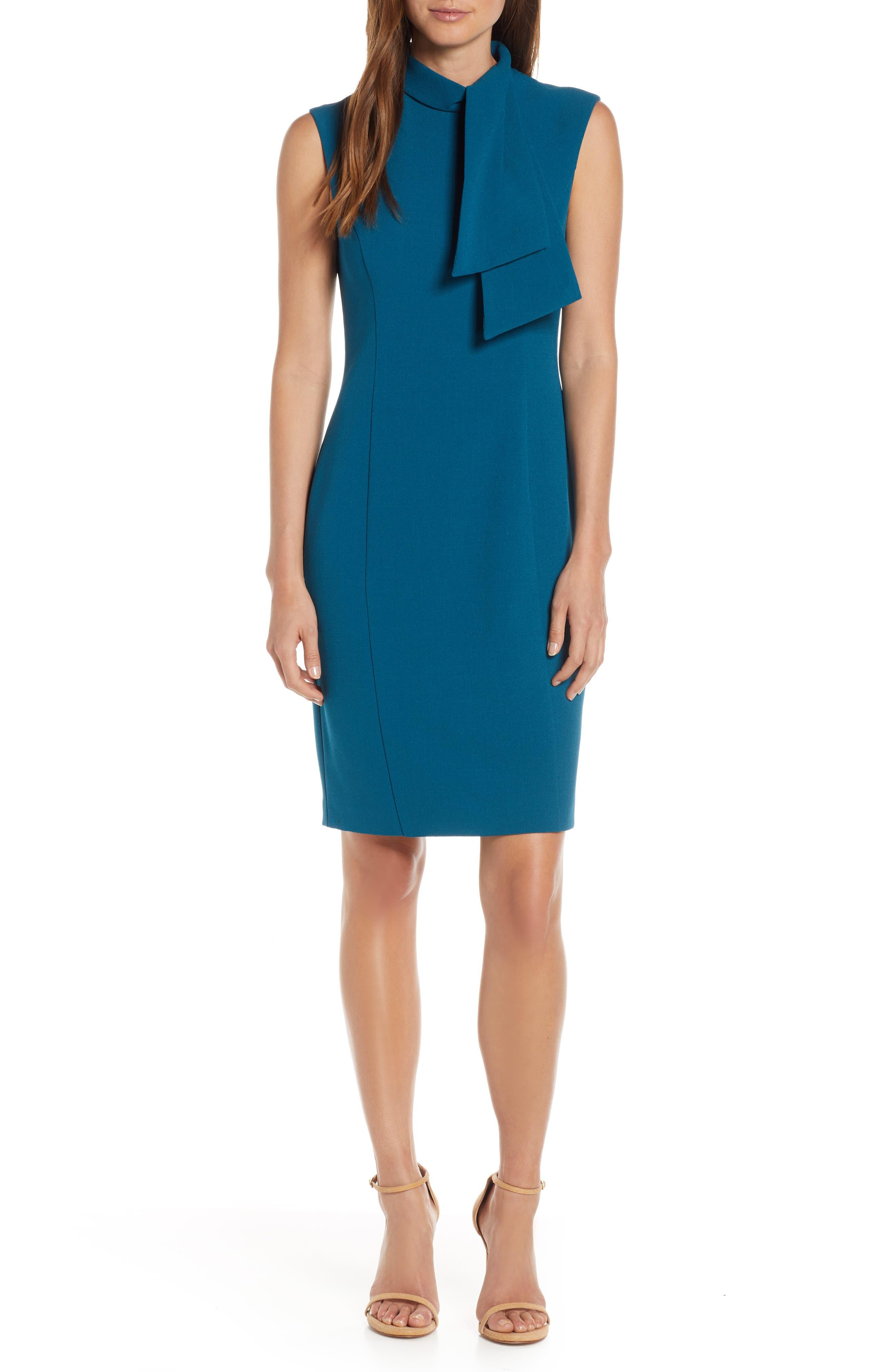 ,                             Tie Neck Sheath Dress,                             Main thumbnail 1, color,                             PEACOCK