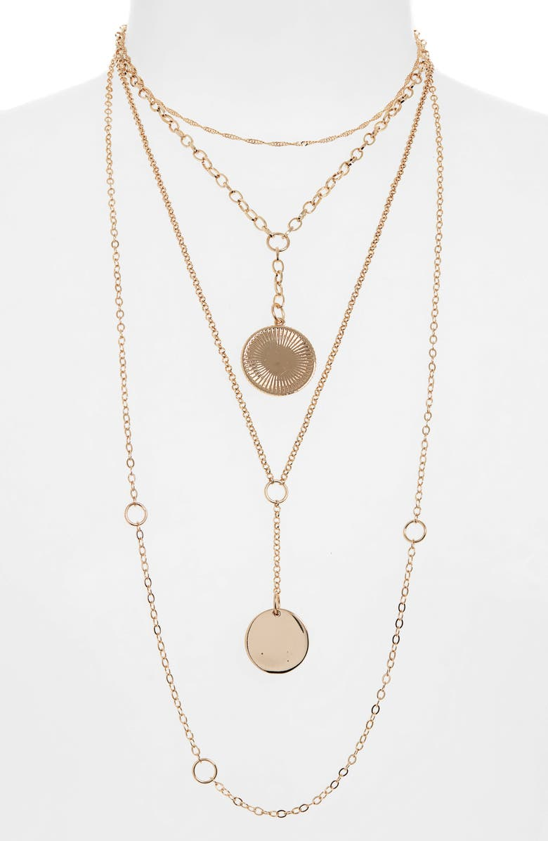 BP. Mixed Chain & Disc Layered Necklace, Main, color, 710