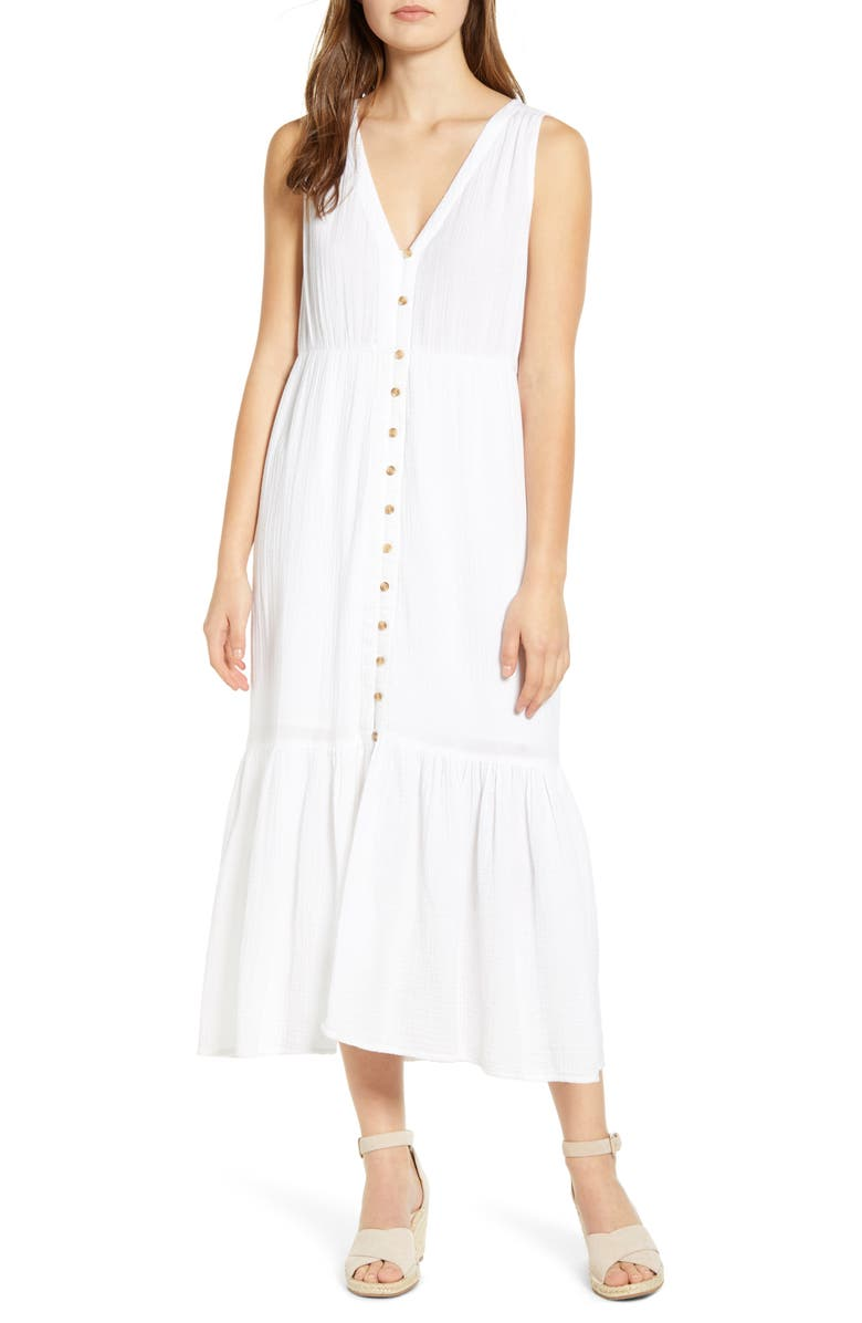 BEACHLUNCHLOUNGE Lexa Double Cloth Sundress, Main, color, 100