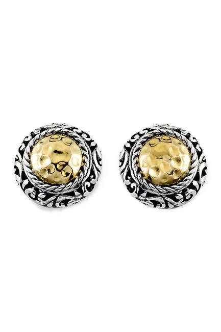 Image of Samuel B Jewelry 18K Gold & Sterling Silver Round Hammered Stud Earrings