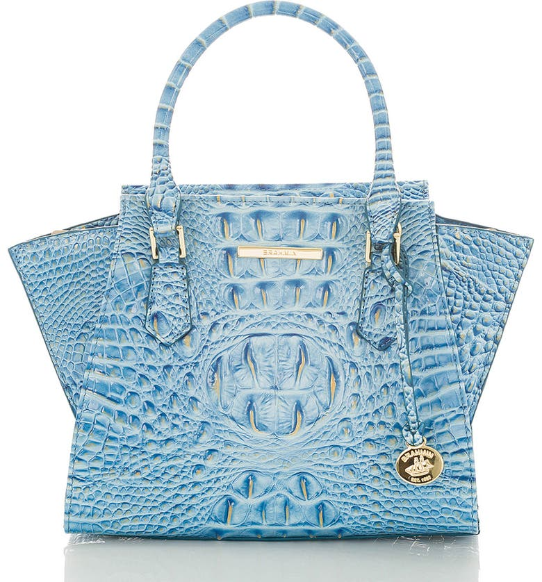 BRAHMIN Mini Priscilla Croc Embossed Leather Satchel, Main, color, CERULEAN