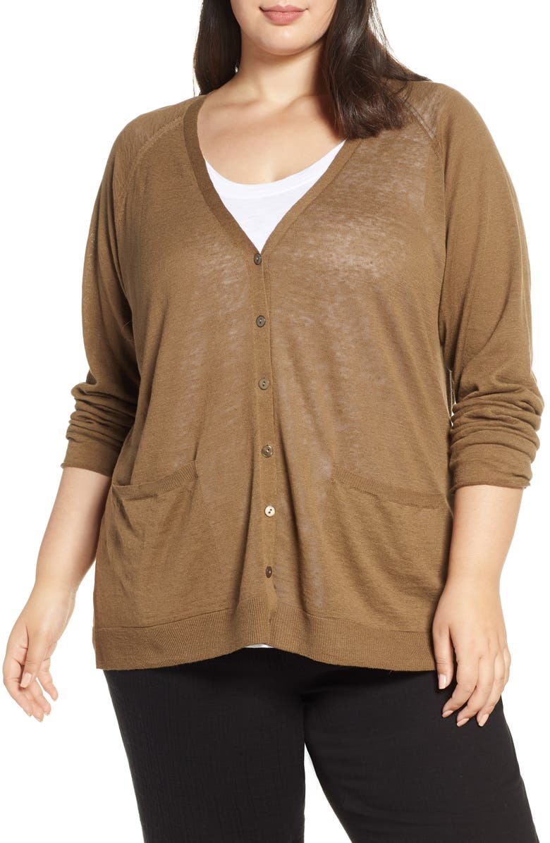 EILEEN FISHER Organic Linen & Cotton V-Neck Cardigan, Main, color, 301