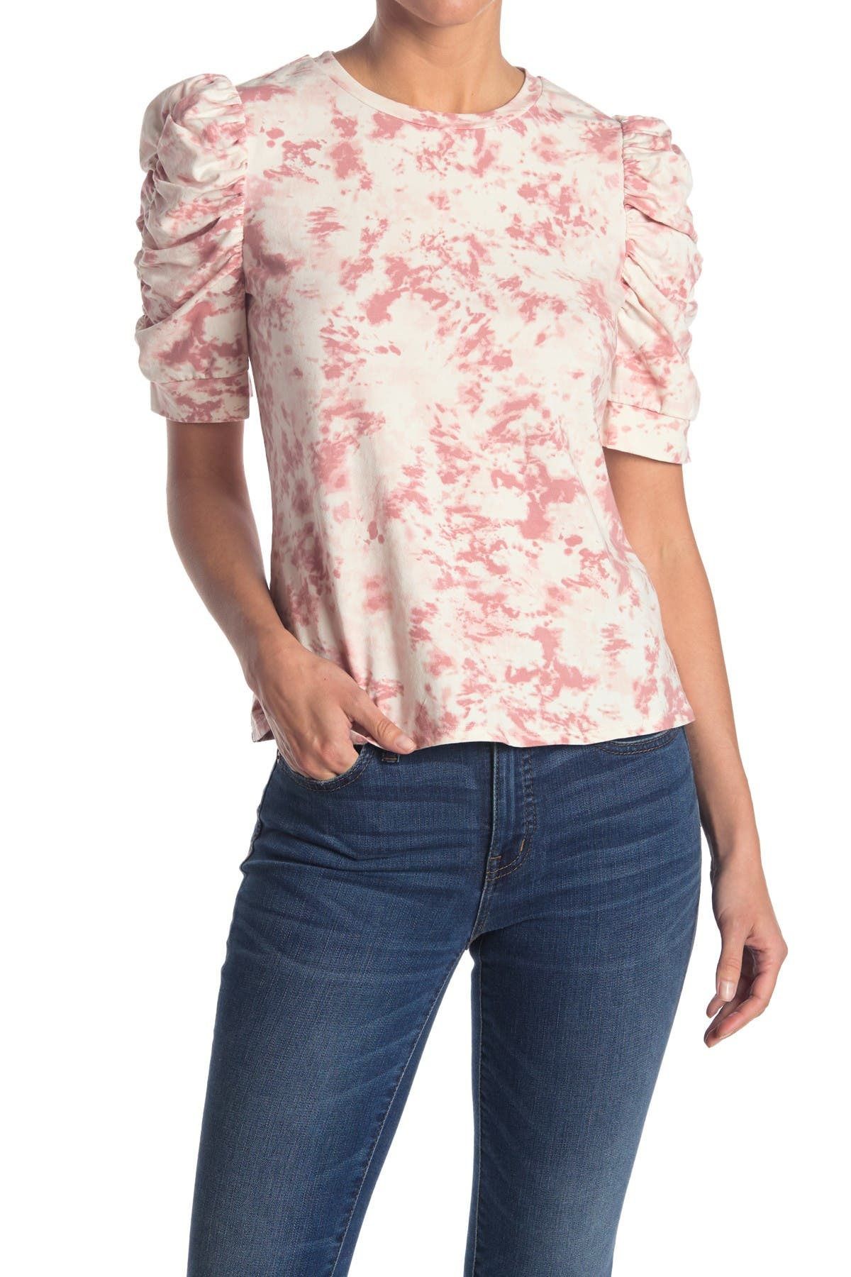 Image of Chenault Tie-Dye Shirred Sleeve Top