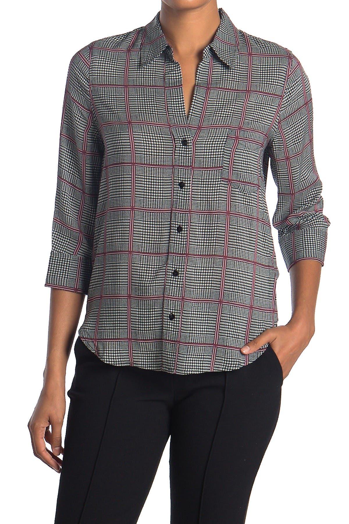 Image of L'AGENCE Ryan Windowpane Print Shirt