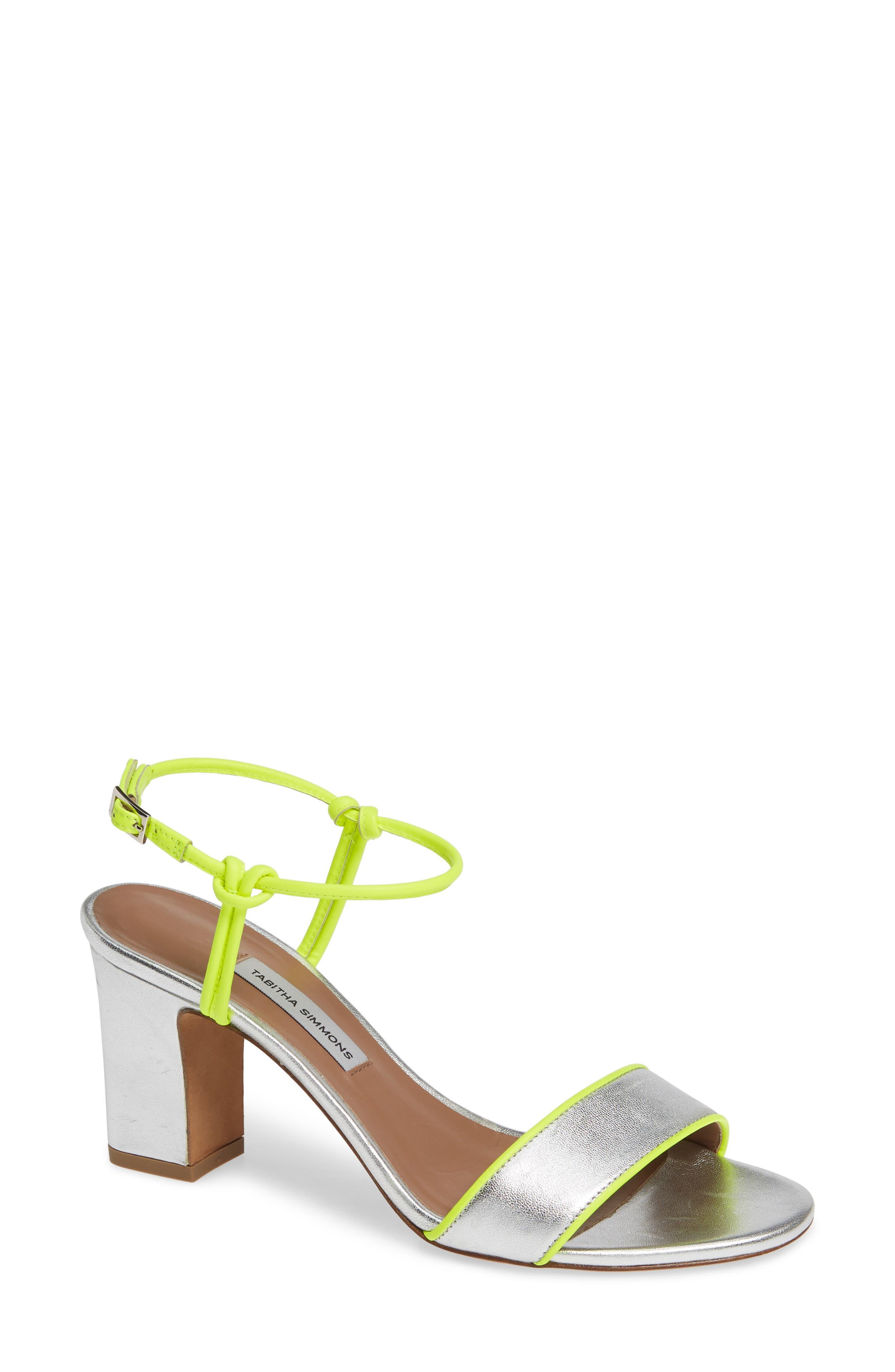 Tabitha Simmons Bungee Block Heel Sandal - Metallic