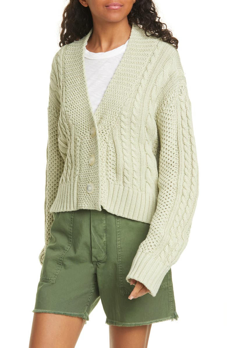 THE GREAT. The Cable Montana Cotton Blend Cardigan, Main, color, 335