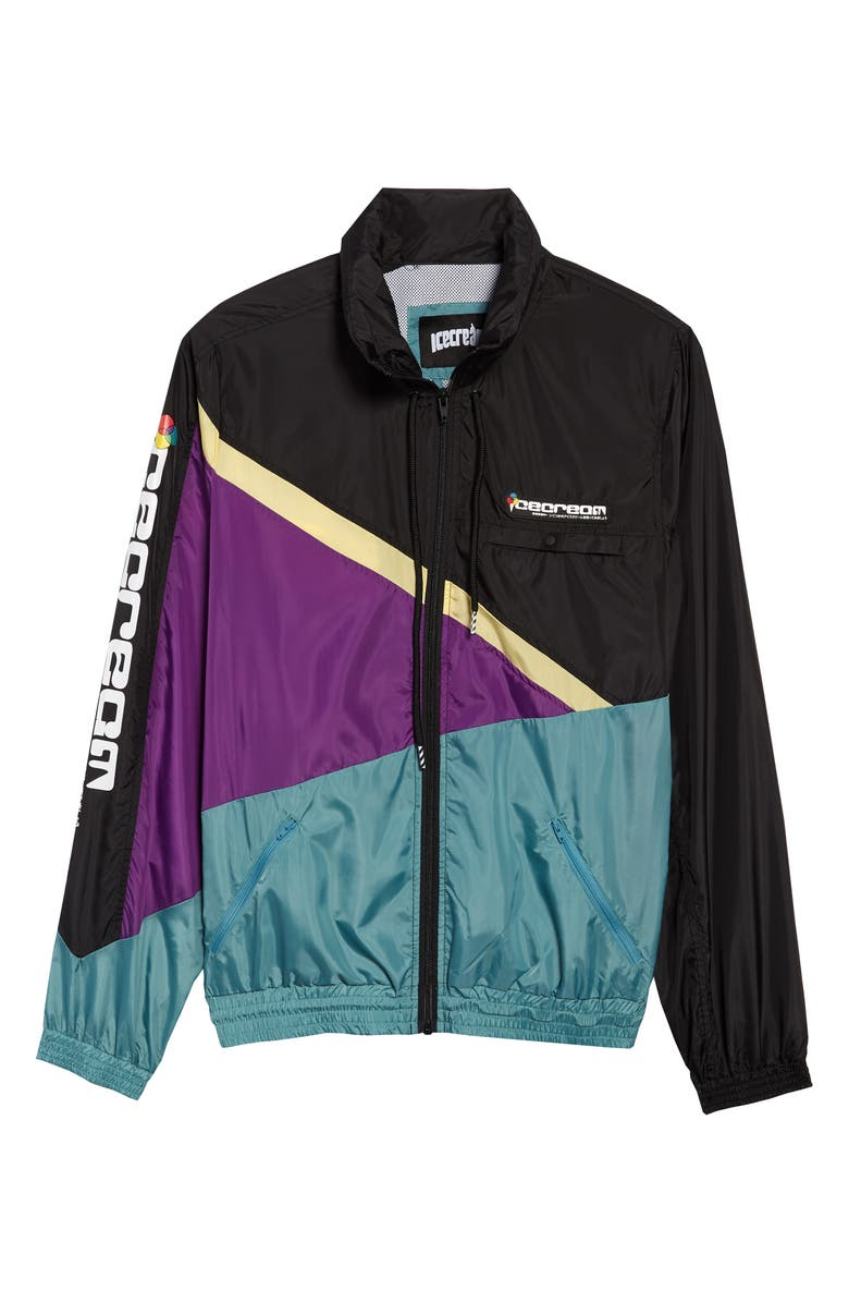 ICECREAM Steamer Asymmetrical Colorblock Hooded Jacket, Main, color, BLACK