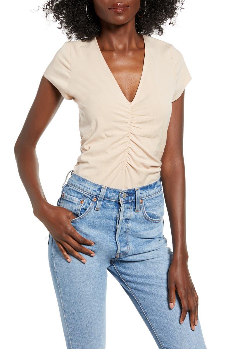 4SI3NNA Karen Ruched V-Neck Bodysuit, Main, color, TAUPE