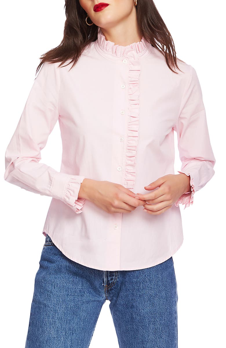 COURT & ROWE Ruffle Placket Shirt, Main, color, CHAMBRAY PINK