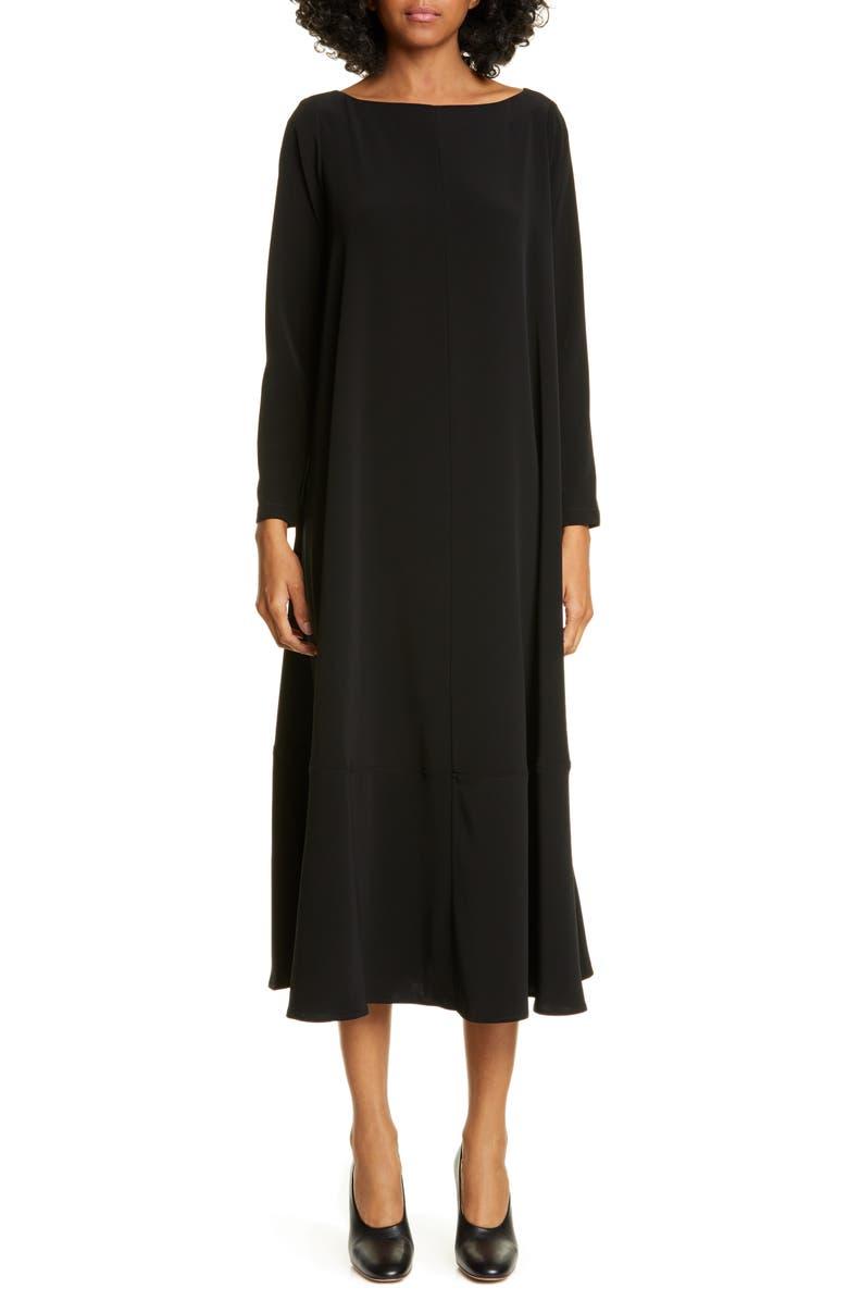 CO Bateau Neck Long Sleeve Midi Dress, Main, color, 001