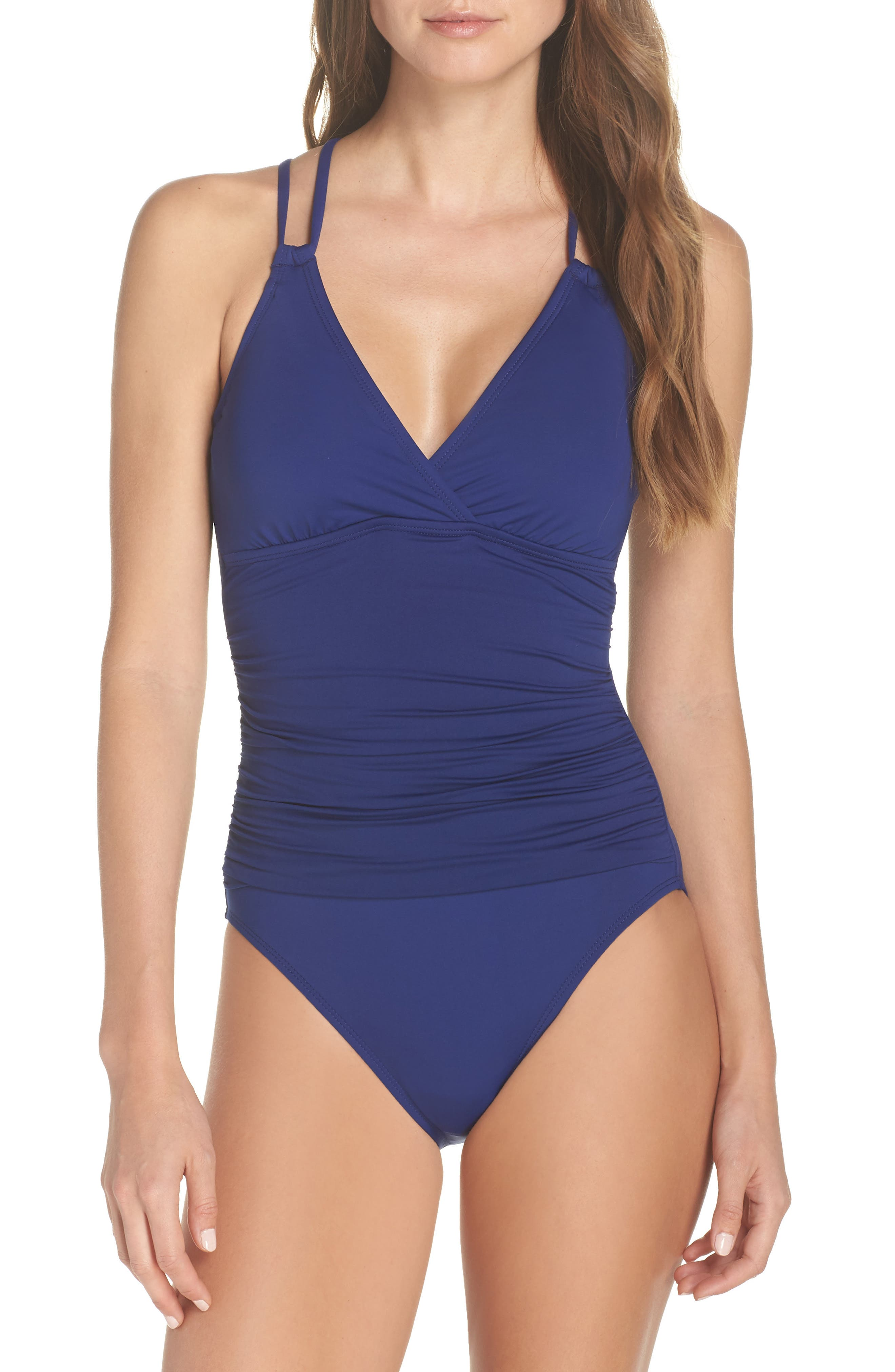 La Blanca Island One-Piece Underwire Swimsuit, Blue