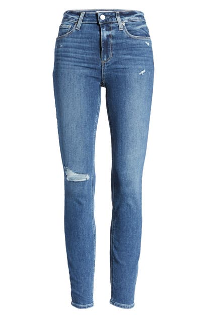 Paige HOXTON DISTRESSED ANKLE SKINNY JEANS
