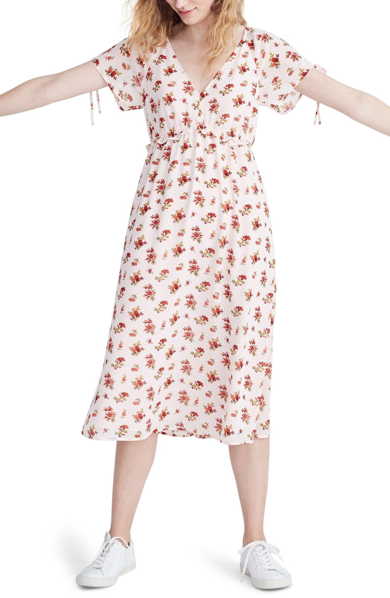 Madewell Ruffle Waist Tie Sleeve Midi Dress, Pink