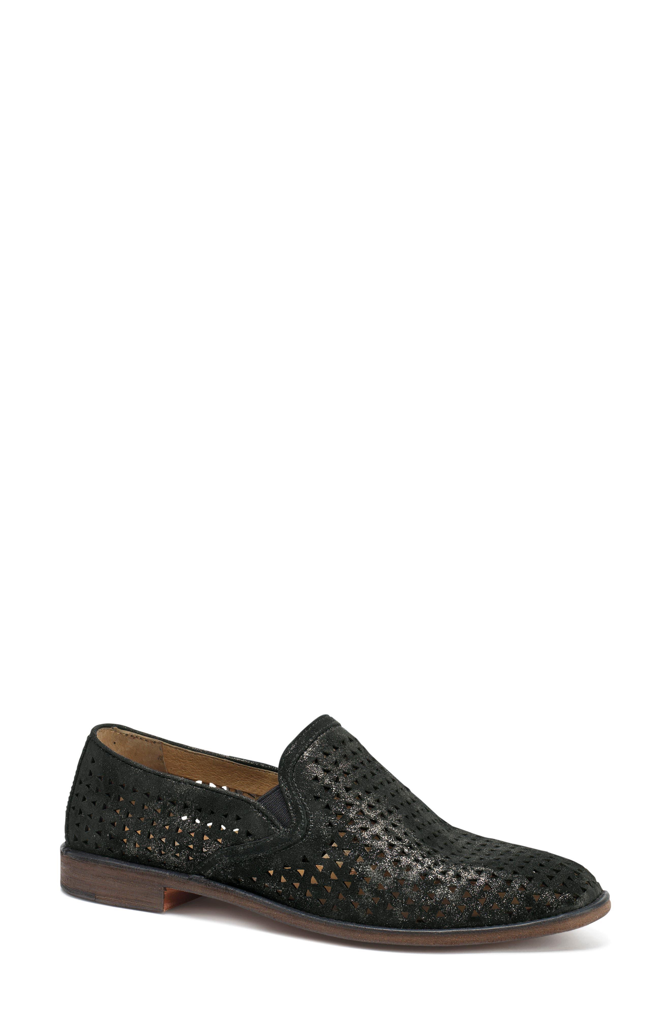 Trask Ali Perforated Loafer- Black