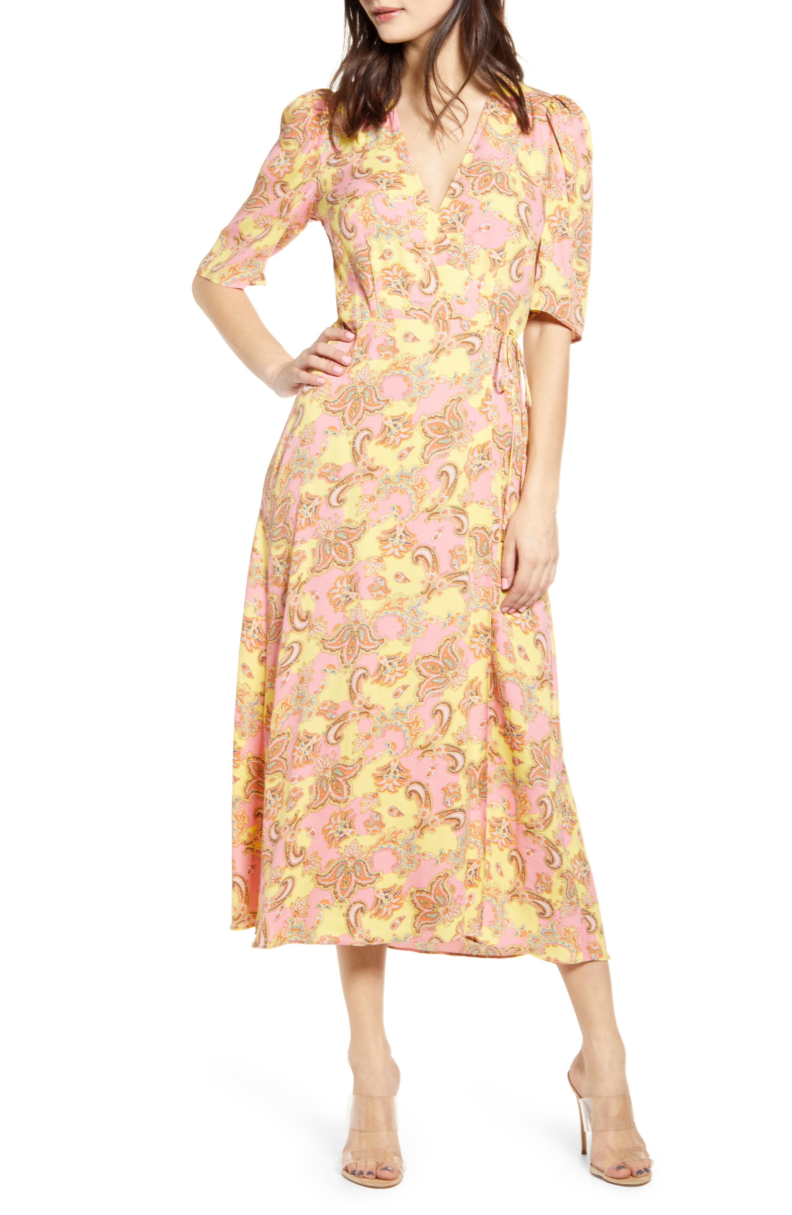 Afrm Hughes Midi Wrap Dress, Pink