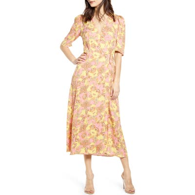 Afrm Hughes Midi Wrap Dress, Pink