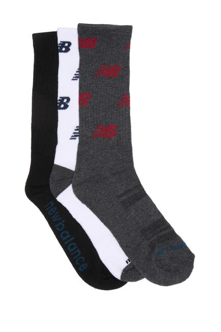 Image of New Balance Logo Printed Crew Socks - 3 Pack