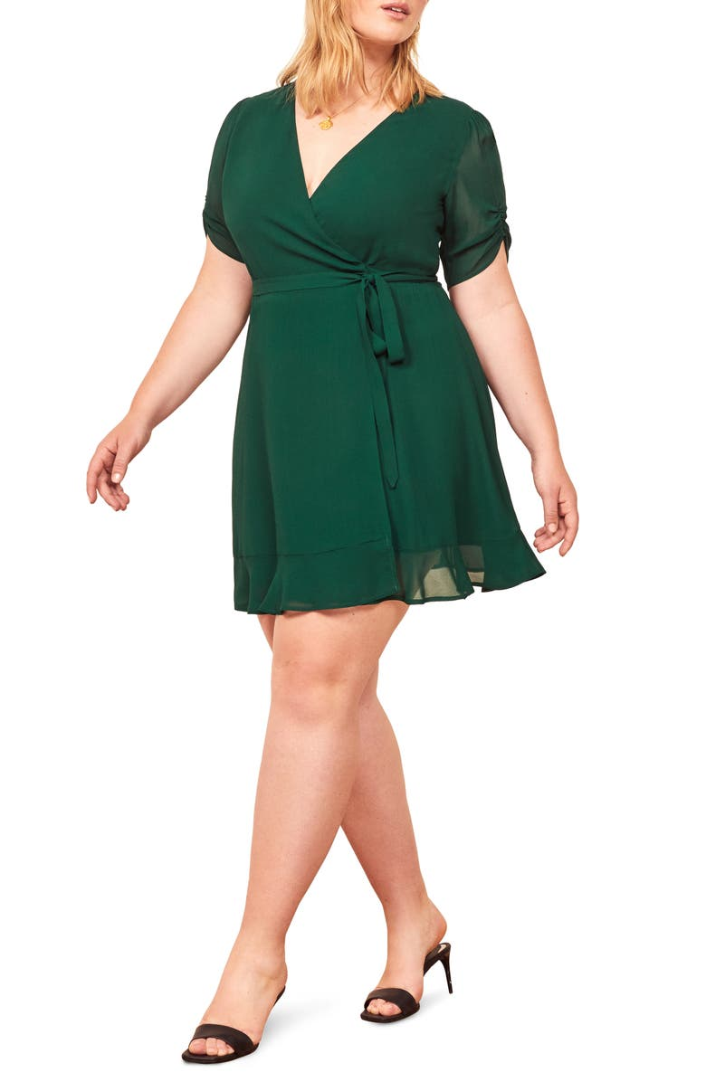 REFORMATION Monica Wrap Dress, Main, color, EMERALD