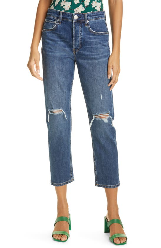 Rag & Bone MAYA RIPPED HIGH WAIST ANKLE SLIM STRAIGHT LEG JEANS