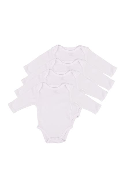 Image of Leveret Solid Long Sleeve Bodysuit - Pack of 4
