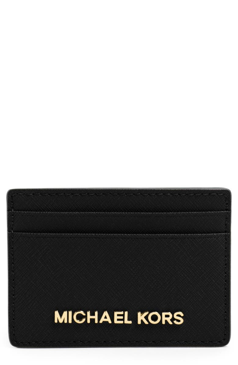 MICHAEL MICHAEL KORS 'Jet Set' Card Holder, Main, color, 001
