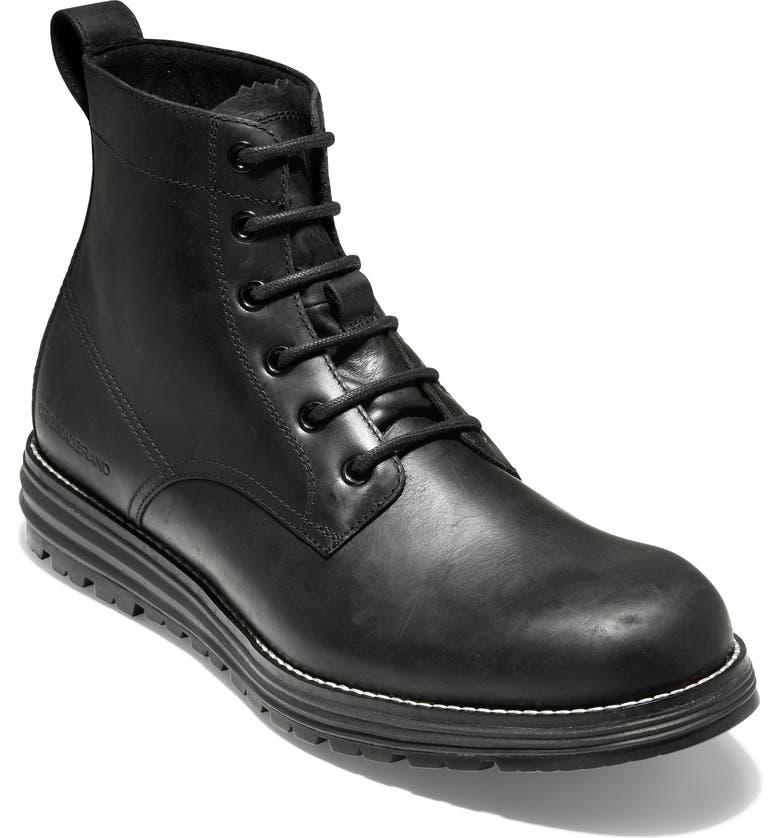 COLE HAAN Original Grand Waterproof Plain Toe Boot, Main, color, BLACK WATERPROOF