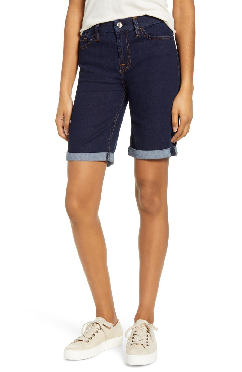 JEN7 BY 7 FOR ALL MANKIND High Waist Denim Bermuda Shorts, Main, color, HAVEN