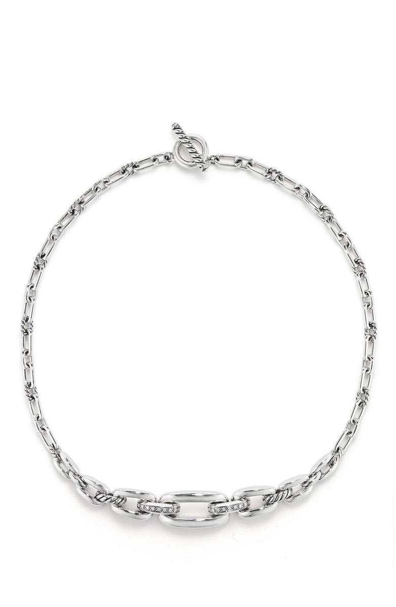 DAVID YURMAN Wellesley Link Chain Station Necklace with Diamonds, Main, color, SILVER